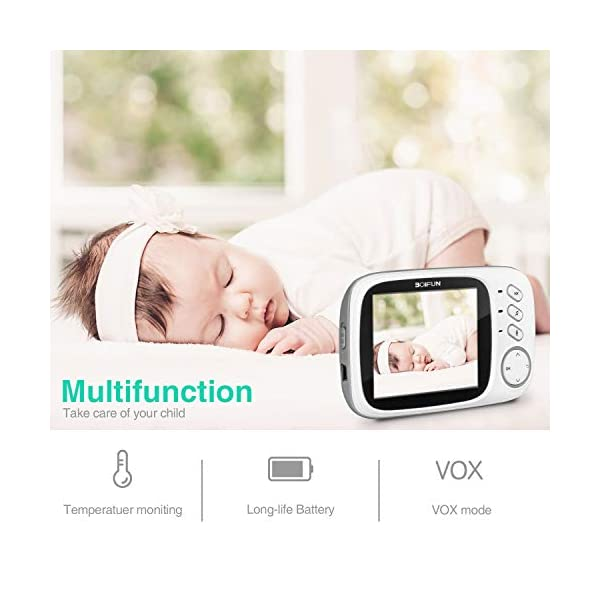 Baby Monitor with Camera, BOIFUN with 3.2'' LCD Screen 300 Meters 2.4Ghz Wireless Stable Connection Rechargeable Battery VOX Night Vision Temperature Monitor Two-Way Talk Baby/Elderly/Pet BOIFUN 🐻 【Fantastic Picture even in Night Vision Mode】 --- Clear picture quality, even in night vision mode, you can see the baby's subtle movements, intellegent infrared night vision, 2-5 meters distance, automatically switch to night vision mode when the light drops, automatically recover after the light is brightened. 🐻 【Highly clear Two-Way Talk Quality】 --- High quality sound and real time two way talk, Respond promptly when your baby needs you, let the baby know that you are always with him. 🐻 【Enhanced temperature monitoring】---Real time and precise baby monitor sensor, the error does not exceed 1°C. It is our responsibility to help you know the temperature of your baby's room and assist you keep baby comfortable at all time. 6