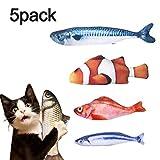 Dioxide 5PCS Giocattolo Catnip per Gatti, Simulazione Peluche a Forma di Pesce Giocattoli Interattivi per Gatti con Erba Gatta, Gatto Cuscino Catnip Fish Toy Cat Masticare per Gatti, Kitty, Gattino