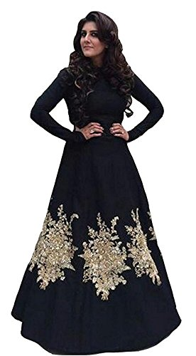 PRIYANKA TRENDS Black Color Tapeta Silk Fabric Threadwork Gown