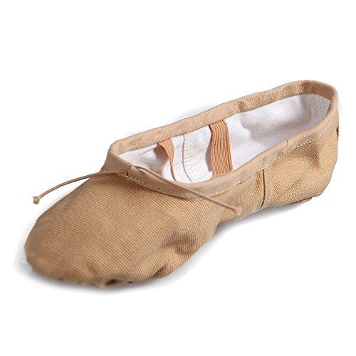Hipposeus Femmes Et Petites Filles Ballroom Ballroom Shoes / Ballroom Shoes / Chaussures De Danse Latine Standard De Toile, Modèle-itcbc Beige