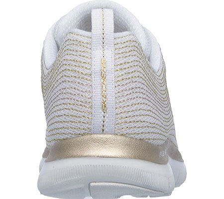 Skechers Flex Appeal 2.0 Metal Madness, Chaussures Multisport Outdoor Femme Blanc/Or