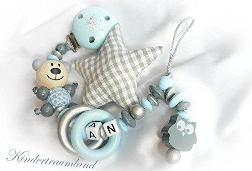 Baby Schnullerkette Teddy für Jungen mit Wunschnamen - Kinder - Geschenk zur Geburt, Taufe - Länge: max. 22cm (ohne Clip) - (Großer Stern, Eule, Ringe, Grau, Babyblau, Weiß, Grau)