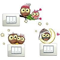 Decorazione da parete Adesivi muro camera da letto bambini Adesivi Murali Gufetti Gufi Amore porta fortuna da parete per interruttore cameretta bambino wall stickers asilo nido