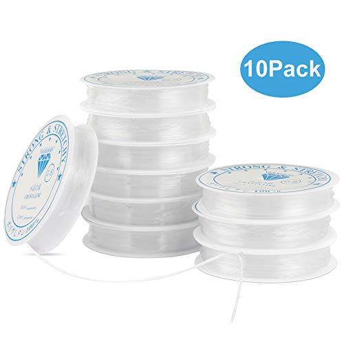 Nakeey 10xSpule Elastisch Schmuckfaden Gummifaden Transparent Faden für Perlenschmuck Armbänder 0.8mm Basteln