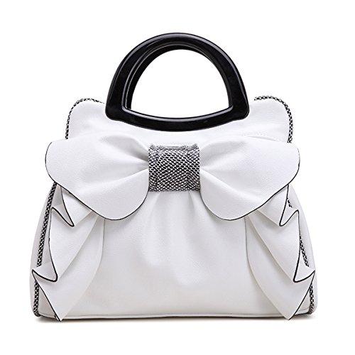 KAXIDY Damen Elegant Bow-knot Faux Leder Tragetaschen Schulterbeutel Handtasche (Weiß) (Weiße Bow Leder)