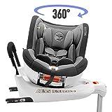 ⭐ Kinderautositz Drehbar 0-18kg, 360°, Isofix, Gruppe 0+/1, ECE R44/4 Norm (Maximale Sicherheit für Ihr Kind) - Reboarder 0+ 1, Drehbar und neigbar mit Sitzerhöhung - Autositz für Babys und Kinder