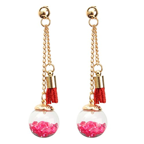 GOZAR Quaste Wishing Glass Ball Kristall Leder Lang Ohrringe Geschenk-Rosa