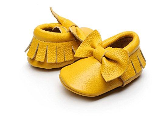 Backbuy Chaussons Pour Bébé à Cuir Arc Chaussures Premiers Pas Filles Jaune