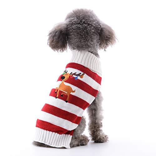 ABRRLO Hunde Kostüme Hundebekleidung Baumwolle Pullover feiern Weihnachten-Tag Winter Mantel Strickpullover Dress up Haustier Hund Pullover Haustier Kostüm Fashion Urlaub Party(S, Kitz C1)