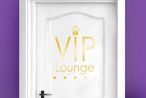 CUT IT OUT VIP Lounge Fünf Star Tür Raum Sticker Art Aufkleber–Glänzend Gold (Höhe 49cm x Breite 40cm) (Bemalt, Von Gold Hand Finish)