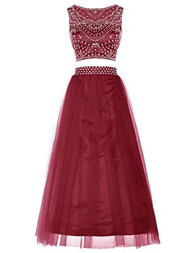 Bbonlinedress Robe de cérémonie Robe de soirée emperlée en tulle deux pièces longueur ras du sol Rouge Foncé