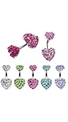 ELECTROPRIME Women Fashion Dual Sweetheart Rhinestone Navel Ring Belly Button Ring Body Piercing