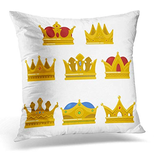 Xukmefat King Headdress Pope Tiara Royal Shining Crown Antique Coronation Sign Prince Princess Heraldry Vintage Decorative Pillow Case Home Decor Square 18x18 Inches Pillowcase -