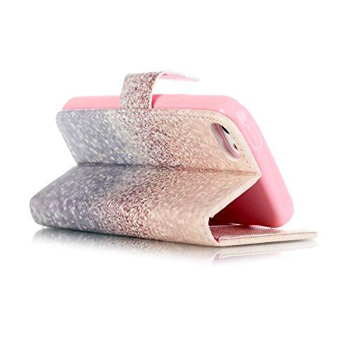 SainCat Cover iPhone 5 / 5s / SE,Fashion Design Dipinto Stand Intelligente Pelle PU Flip Stare Supporto Cover Case Caso,Elegante Pieghevole Capovolgere Leather Copertinat Caso Con Porta Carte Di Credi Deserto