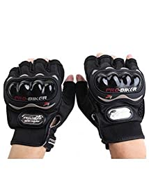 OSS-Fuel Pro-Biker Motorcycle/Bike Riding Half Gloves (Black_Large)