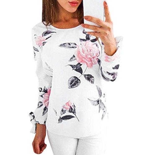 Ursing Herbst Bluse Damen Langarm Shirt Pullover Super Gemütlich Floral Splice Printing Rundhals Tops Elegantes charmantes T-Shirt Oberteil mit Einzigartig Niedlich Bogen auf der Hülse (M, Weiß) (Stiefel Tragen Hohe Sie)