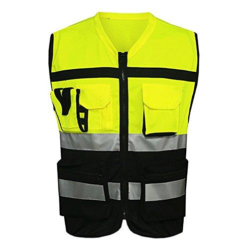 Cleme Sicherheit Sicherheit Sichtbarkeit Reflektierende Weste Konstruktion Verkehr Fahrradbekleidung Neu(XXLSchwarz und gelb)