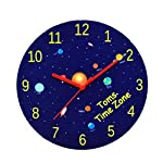 Personalised Space Wall Clock for Boys Bedroom Hanging/Silent Quiet/Planets/Galaxy/Rockets/Astronaut/Stars/Blue/Kids Birthday Gift/Round/24 Centimetre