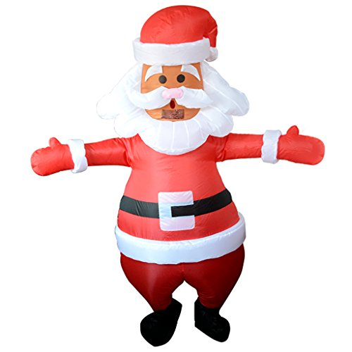P Prettyia Costume Gonfiabile Turchia Babbo Natale Fenicottero Pollo Cavallo per Carnevale+Ventilatore - Babbo Natale