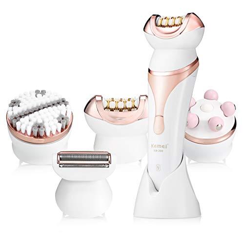 Myoyo 4 in 1 Multifunktionsrasierer Elektrische Epilierer Rasur Haarentferner Frauen Enthaarung Gesicht Reinigungsbürste Massagegerät