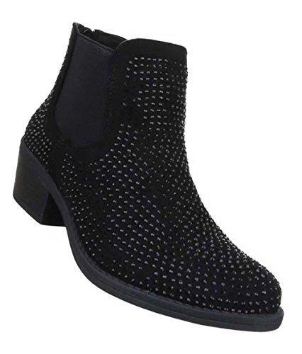 Damen Stiefeletten Schuhe Strass Besetzte Chelsea Boots Schwarz Schwarz