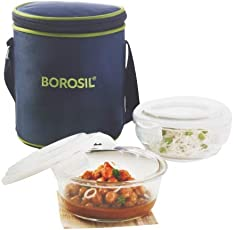 Borosil Glass Tiffin Set, 400ml, Set of 2, Clear