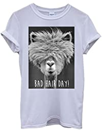 Bad Hair Day Llama Lama Funny Hipster Swag White Femme Homme Men Women Unisex Top T-Shirt