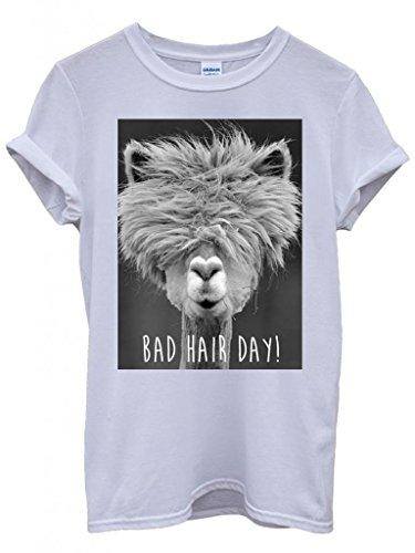 Bad Hair Day Llama Lama Funny Hipster Swag White Weiß Damen Herren Men Women Unisex Top T-Shirt -X-Large