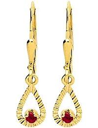 Bijoux pour tous - Pendientes de oro amarillo con rubí