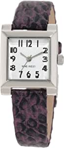 Nine West Women's NW/1213WTPR Square Silver-Tone Easy-to-Read Dial Purple Snake Print Strap Watch