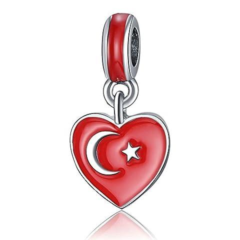Waya Argent Charms Turquie Cœur Collier Pendentif Perles européen pour bracelets Bracelet chaîne serpent Bijoux