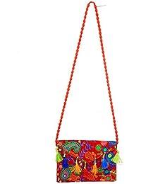 Kuber Industries™ Designer Embroided Sling Bag Handmade Ethnic Vintage Banjara Clutch