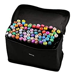 80 Colors Permanent Art Markers Twin Marker Pen Broad Fine Point Black Animation Design for Drawing Coloring with Black Bag