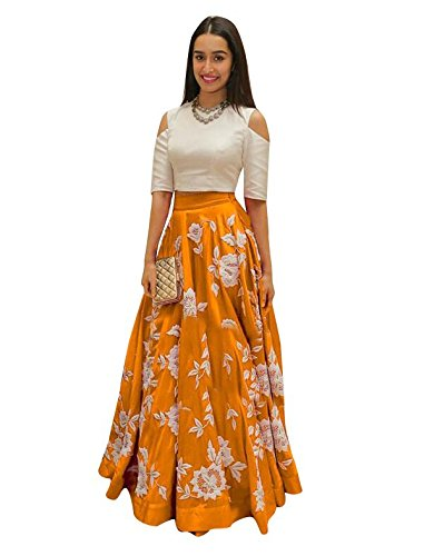 Indian Designer Bollywood Collection New Arrival Party Wear Orange Color Lehenga Choli...