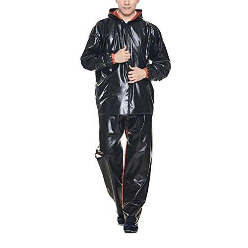 LAXF-Regenbekleidung Mens Wasserdichte Regenjacke Mantel und Hose Set Anzug Leichte Regenmantel Tragbare Regenbekleidung für Outdoor Bike Radfahren Camping Reisen Wandern Polyester Schwarz ( Farbe : B , größe : XXL )