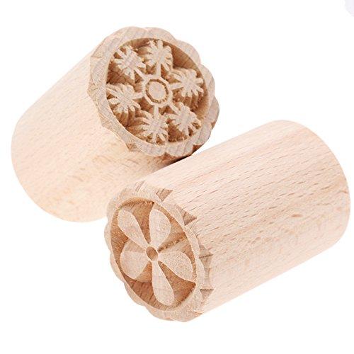 Holz Backform Kuchen Drücken Stempeln DIY Handwerk Werkzeug für Kuchen,Keks,Schokolade mit Schneeflocken und Blumen Muster,3.5x5cm (Holz Drucken Handwerk)
