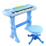 deAO Elps-B Blue 37 Key Electronic Piano Karaoke Keyboard with Microphone, Stool and Sound Features