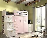 ambiato Kinderzimmer Vita 40 Hochbett mit integrierten Kleiderschrank, extra Tiefe Schubkästen, Schreibtisch Platz sparend