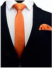 """GUSLESON 2.4"""" Slim Necktie and Handkerchief Set For Men Solid Skinny Tie Brooc"""