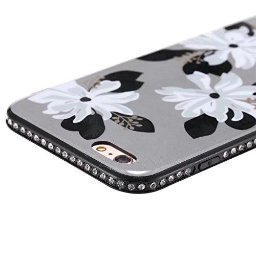 EKINHUI Case Cover Blumen-bedrucktes Muster Weiche schwarze TPU Gel-Shell-Stoßfänger-Abdeckung [Schock-Absorbtion] Glänzender Bling-Funkeln-Rhinestone-rückseitiger Abdeckungs-Fall für iPhone 6 Plus u. F