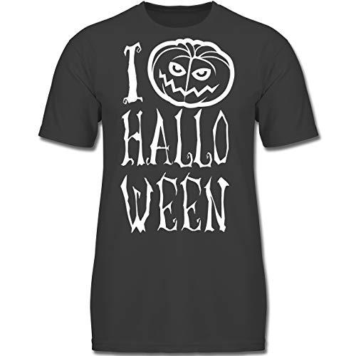 Anlässe Kinder - I Love Halloween - 116 (5-6 Jahre) - Anthrazit - F130K - Jungen Kinder T-Shirt (6 Halloween Von Erklärung)
