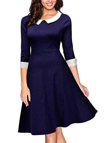 Miusol® Damen Knielang 1/2 Arm Rundhals Vintage Kleid Abendkleid Rockabilly Festlich Kleider Blau Gr.M - 4