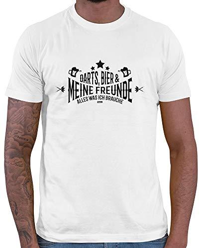 HARIZ  Herren T-Shirt Darts Bier Freunde Alles was Ich Brauche Dart Darten Dartscheibe Weltmeisterschaft Plus Geschenkkarte Weiß XL