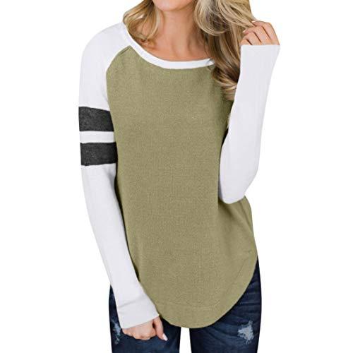 Bluse Damen Beiläufige Herbst Patchwork Langarm Sweatshirt Blusen T-Shirt O-Ausschnitt Strick Shirts Tops Oberteil Langarmshirt Lose Hemd Crop Top Tunika -