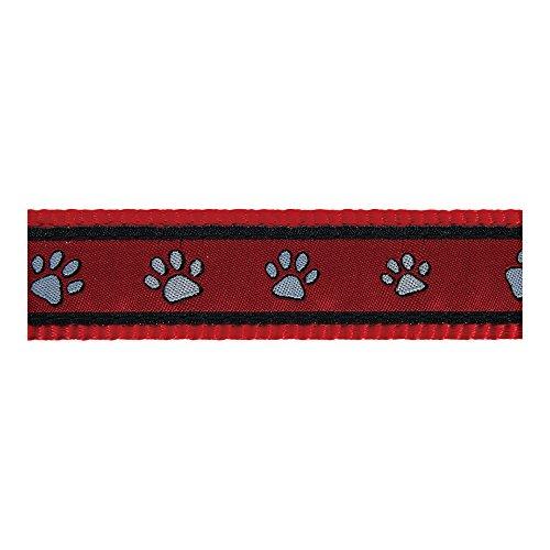 Red-Dingo-Pawprints-Patterned-Dog-Collar-L-25-mm-40-60-cm-Neck-Size-Red