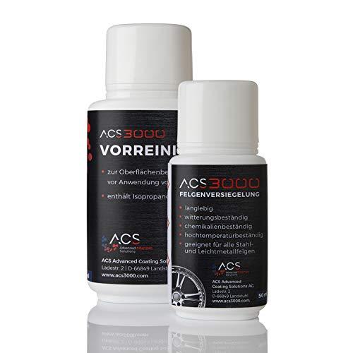 ACS3000 Felgenversiegelung. 5 Jahre Hochglanz und Schutz vor Salz, Bremsstaub und Verschmutzung. Einmalige Anwendung. Set mit Vorreiniger, Handschuhen, Tüchern und Felgenversiegelung (50 ml)