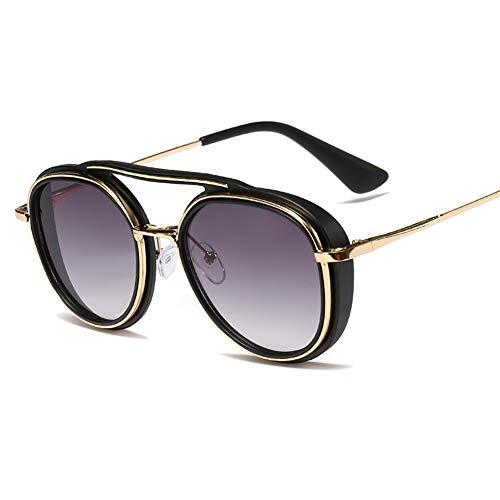 DishyKooker Damen Herren Stilvolle Retro Rund Metall Punk Einstellbare Nasenpads Fahren Sonnenbrille C6 Matt Schwarz Farbverlauf Grau wie abgebildet