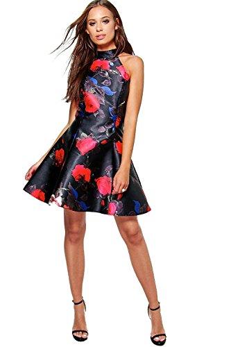 multi Damen Boutique Joss High Neck Floral Skater Dress Multi