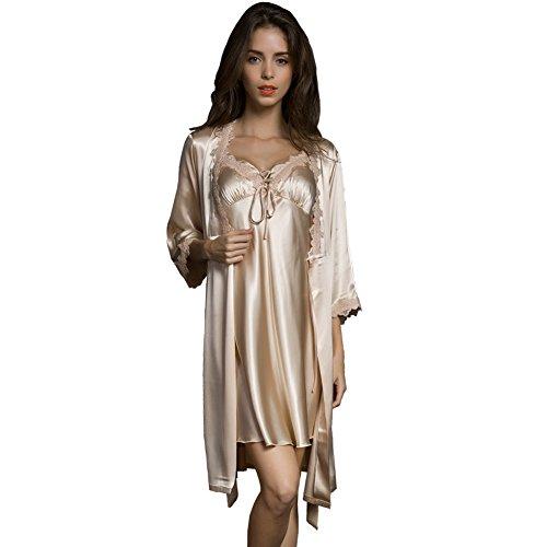 SUNBABY Damen Sexy Silk Satinrobe Leibchen Pyjama Kleid 2 Stück Anzug Nachtwäsche bestes Geschenk Mittel Champagner