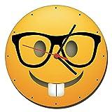 MasTazas Emoji Nerd Glasses Wanduhren Wall Clock 20cm